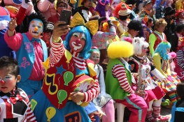 450 clowns gathered this year for the Latin American annual convention. This year their worries about the 'killer clown' fad affecting their livelihood has been a dominant theme. Here they're posing for a group photo