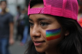 Gay pride march, Mexico City 2016. The capital city is relatively progressing in terms of LGBTQ rights, but members of the community still face high risks of discrimination and violence. This annual march is a rare space for people to vividly show their colours without fear of repercussions.