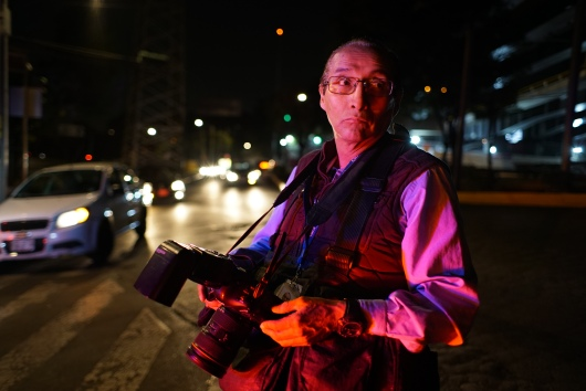 David Alvarado works the night shift for la nota roja (crime tabloids) in Mexico City.